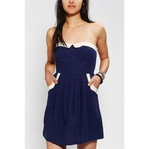 UO COPE Linen Contrast Strapless Navy Sailor Dress